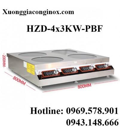 Bếp từ công  nghiệp 4 mặt phẳng 3 chế độ 3kw HZD-4x3KW-PBF