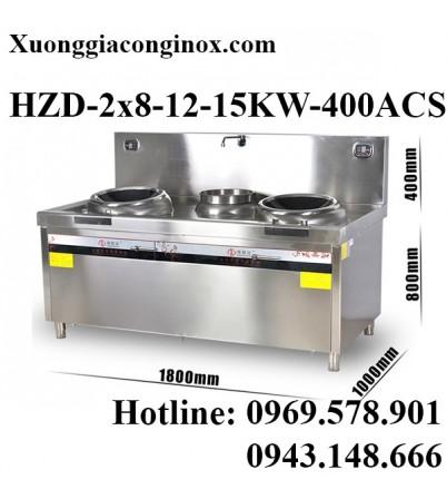Bếp từ công nghiệp 2 mặt lõm và bếp chiên có vòi rửa 8-12-15KW HZD-2x8-12-15KW-400ACS