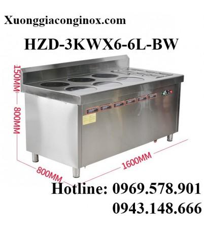 Bếp từ công nghiệp lớn kết hợp bếp hấp có hẹn giờ 3-3.5KW HZD-3KWX6-6L-BW