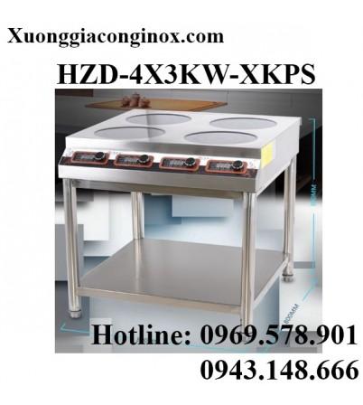 Bếp từ công nghiệp 4 mặt phẳng có hẹn giờ có giá kệ 3KW HZD-4X3KW-XKPS