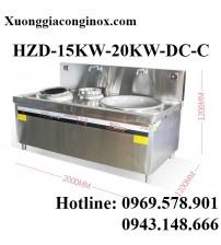 Bếp từ công nghiệp mặt lõm-chảo lớn-bếp chiên có vòi rửa 15-20KW HZD-15KW-20KW-DC-C