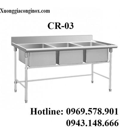 Chậu rửa inox công nghiệp 3 hố CR-03