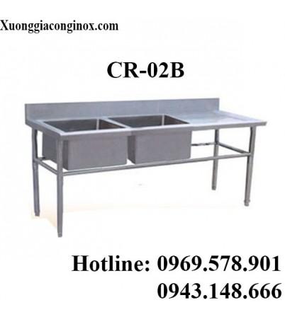 Chậu rửa inox công nghiệp 2 hố có bàn CR-02B